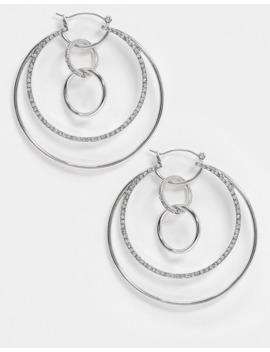 Asos Design – Silverfärgade Creoler Med Ihopkopplade Cirklar Och Kristaller by Asos Design