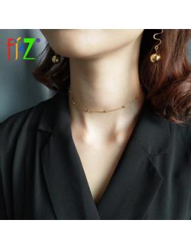 F. J4 Z Caliente Sexy Lightly100 % Real S925 Collar De Plata De Ley Diseño De Moda Simple Pequeña Bola De Oro Collar Corto Femenino by Ali Express.Com