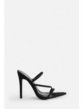 Black Faux Suede Pointed Toe Triple Strap Heels by Missguided