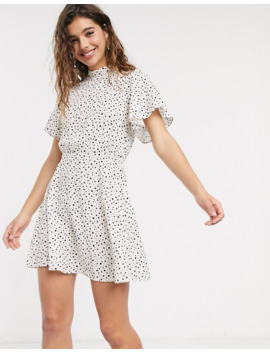 Miss Selfridge High Neck Mini Tea Dress In Nude Spot by Miss Selfridge