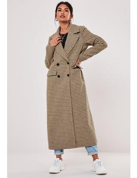 Tall Brown Plaid Oversized Formal Coat by Missguided