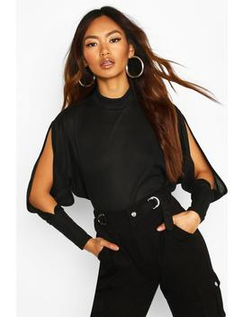 Oversized Rib High Neck Cold Shoulder Top by Boohoo