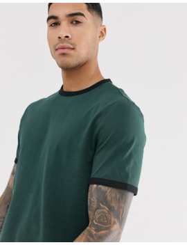 Asos Design Organic T Shirt With Ringer In Green by Asos Design