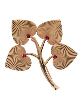 Tiffany 14 K Yellow Gold Ruby Leaves Brooch by Tiffany