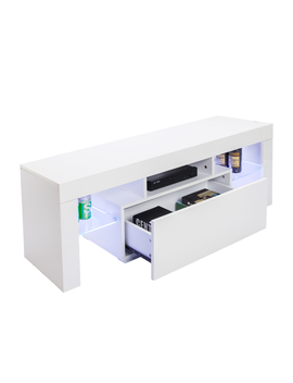 Elegant Household Decoration Tv Stand With Led Lights, Modern Led Tv Cabinet Media Console Cabinet Led Shelves With 2 Drawers For Living Room by Royal Plush