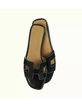 Hermes Oran Sandals Size 40 Black by Ebay Seller