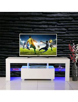U Bes Goo Tv Stand Media Console Cabinet Led Shelves With 1 Drawers For Living Room Storage High Gloss White by U Bes Goo