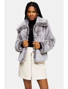 Grey Two Tone Faux Fur Coat by Topshop
