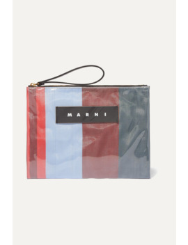 Leather Trimmed Pvc And Striped Canvas Pouch by Marni