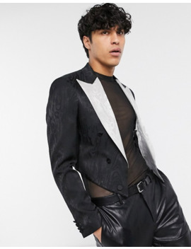 Asos Edition Cropped Blazer In Black With Contrast Lapel by Asos Edition