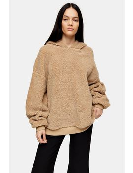**Beige Borg Hoodie By Topshop Boutique by Topshop