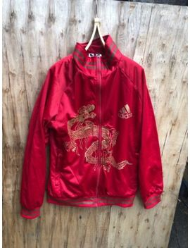 Rare Adidas Top Red Jacket With Front Dragon Print Size Medium by Ebay Seller