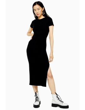 Black Belted Ribbed Column Dress by Topshop