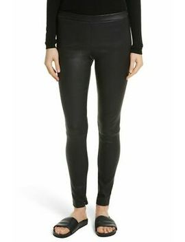 $995 Vince Women's Pants Medium M Black Stretch Leather Ankle Zip Leggings by Ebay Seller