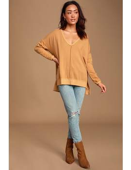 Admire Me Mustard Yellow V Neck Pullover Sweatshirt by Lulus