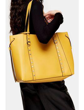 Dani Mustard Pu Stud Tote Bag by Topshop