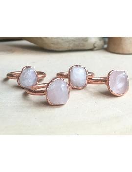 Tumbled Rose Quartz Ring For Women, Rose Quartz Jewelry, Electroformed Rose Quartz Ring, Bohemian Jewelry by Etsy