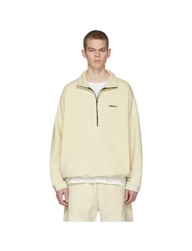 Off White Polar Fleece Half Zip Pullover by Essentials