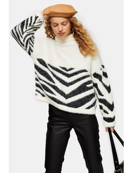 Black And White Chevron Placed Zebra Jumper by Topshop