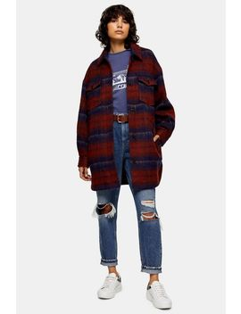 Red And Blue Check Longline Jacket With Wool by Topshop