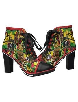 Rasta / Bob Marley / High Heels / Reggae Shoes / Black Heels / High Heel Shoes / Heeled Ankle Boots / Ankle Boots / Black Ankle Boots by Etsy