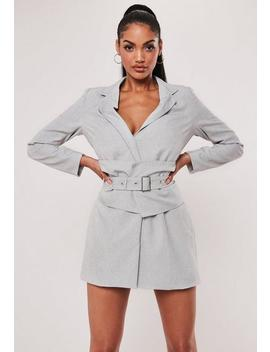 Grey Belted Blazer Dress by Missguided