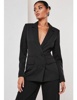 Tall Black Co Ord Double Breasted Blazer by Missguided