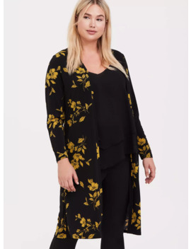 Black & Yellow Floral Studio Knit Longline Cardigan by Torrid