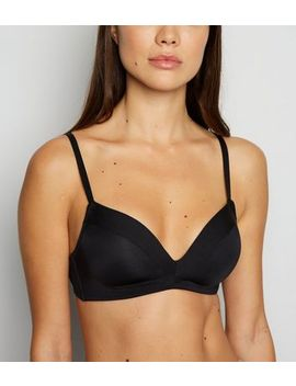 Black Satin Trim Non Wired Triangle Bra by New Look