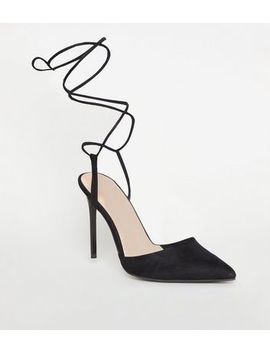 Black Suedette Ankle Tie Pointed Court Shoes by New Look