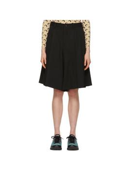 Black Wool Gabardine Shorts by Comme Des GarÇons Homme Plus