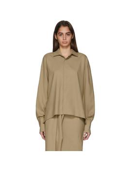 Beige Business Woman Shirt by A.W.A.K.E. Mode