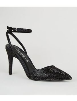 Black Gem 2 Part Pointed Court Shoes by New Look