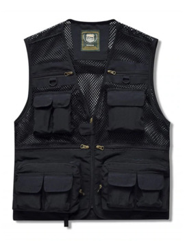Zip Up Multi Pockets Mesh Cargo Vest   Black M by Zaful