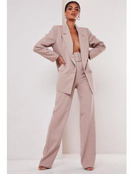 Tall Mauve Co Ord Belted Trousers by Missguided