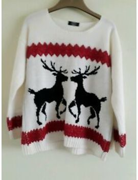 Pura Moda Ladies Christmas Cropped Oversize Jumper Size S (21 Inches Pit To Pit) by Ebay Seller