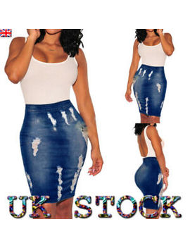 Women High Waist Skirt Sexy Slim Denim Ripped Jeans Knee Length Pencil Fit Dress by Ebay Seller