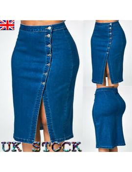 Women Lady Wash Stretch Denim Jean Mid Length Side Slit Skirt Plus Size 18 28 by Ebay Seller