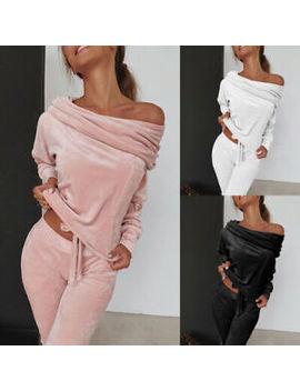 Women Velvet 2 Pcs Tracksuit Set Funnel Neck Jumper Hoodie Trousers Lounge Wear by Ebay Seller
