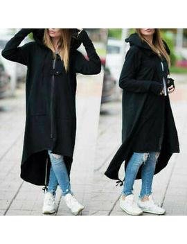 Uk Women Long Sleeve Zip Up Hooded Hoodie Jacket Jumper Cardigan Coat Loose Size by Ebay Seller