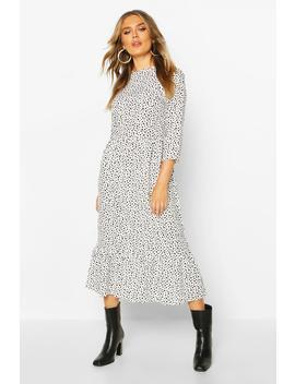 Woven Mixed Spot Dress by Boohoo