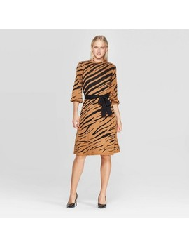 Women's Animal Print 3/4 Sleeve High Neck Intarsia Sweater Mini Dress   Who What Wear™ by Who What Wear