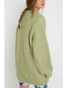 Uo   Mini Robe Verte En Tricot Torsadé by Urban Outfitters