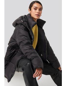 Drawstring Padded Jacket Czarny by Na Kd Trend