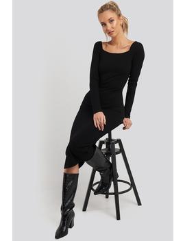 Square Neck Long Sleeve Ribbed Midi Dress Black by Na Kd