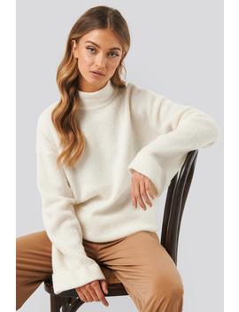 Alpaca Wool Blend High Neck Sweater Biały by Na Kd Trend