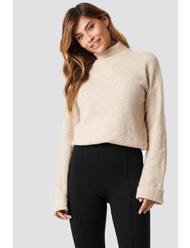 Alpaca Wool Blend High Neck Sweater Beżowy by Na Kd Trend