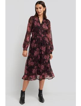 Flowy Midi Flounce Dress Różowy by Na Kd Boho