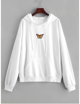 Hot Butterfly Embroidered Front Pocket Drawstring Hoodie   White L by Zaful