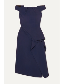 Arch Off Shoulder Draped Crepe Dress by Roland Mouret